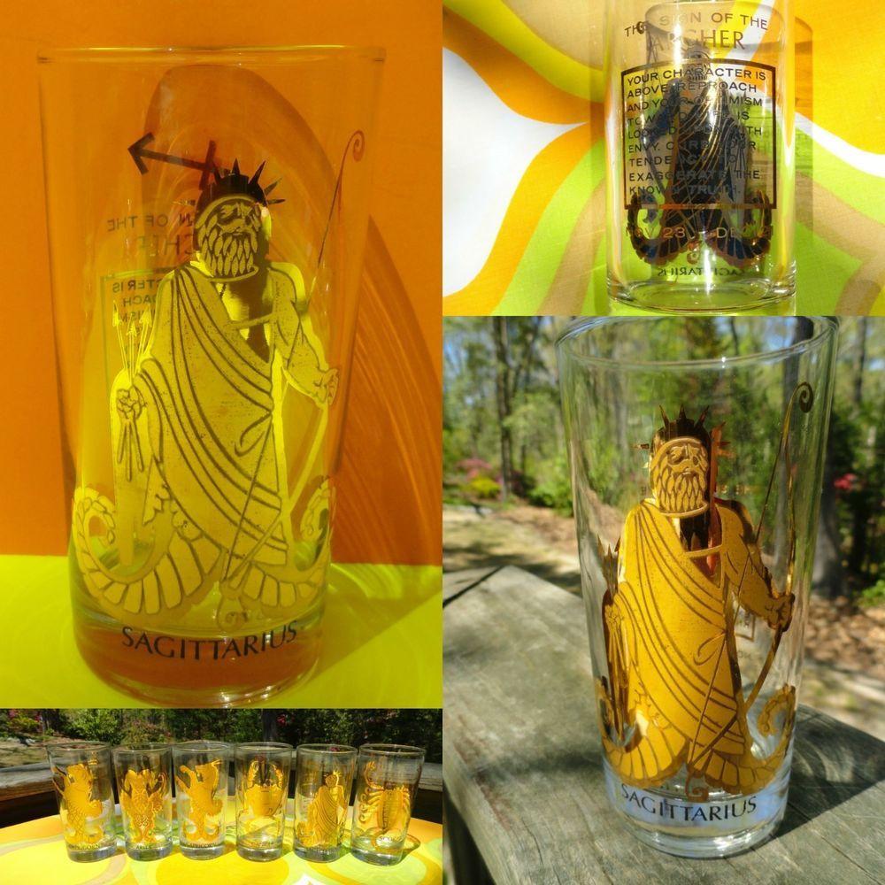 VTG 60s Retro Gold Glass Hi-Ball Zodiac Sign Barware Tumbler Groovy SAGITTARIUS
