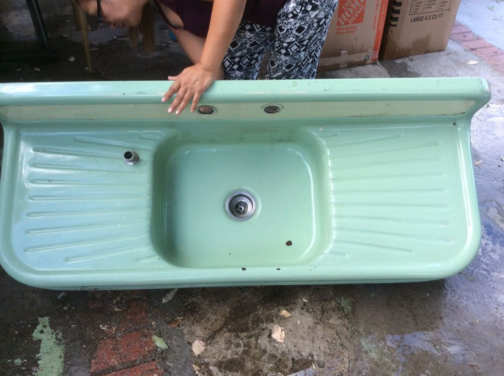 Vintage Mint Green Single Basin Double Drainboard Porcelain Over ...