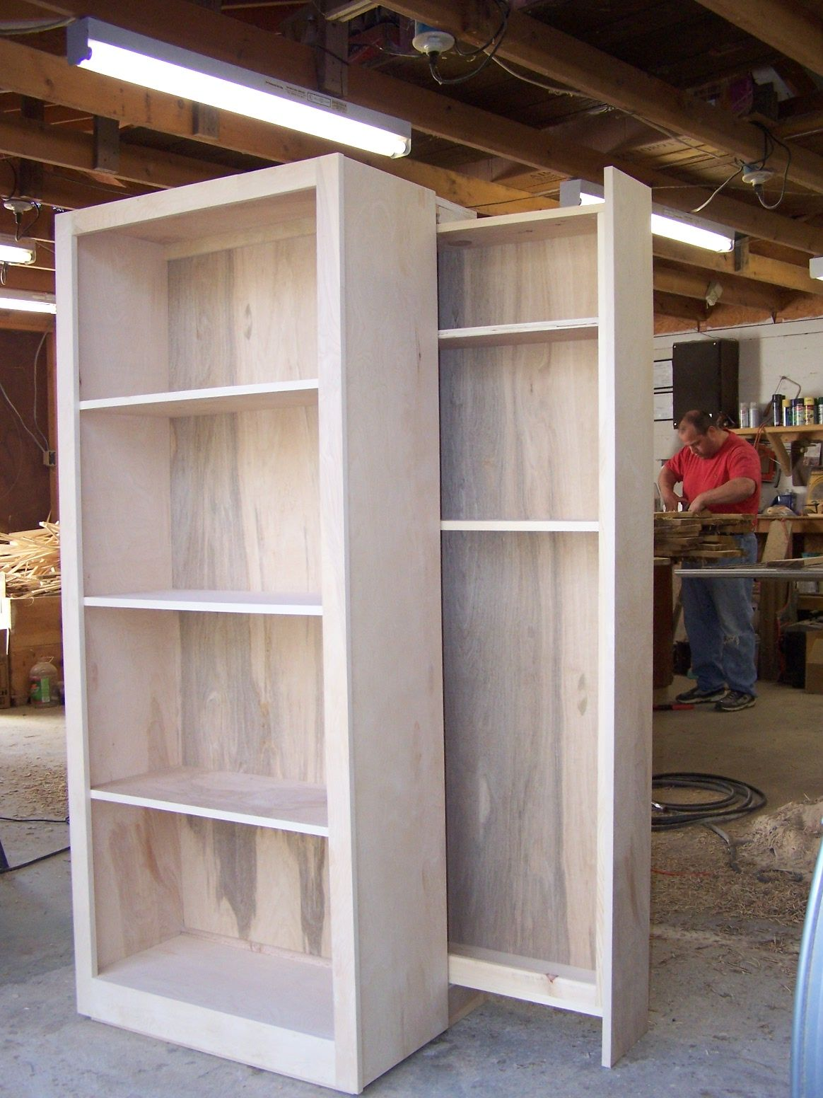 Birch Bookcase Whith Hidden Gun Rack In Back Wood