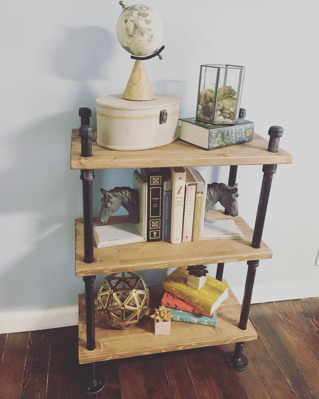 Just Finished Up This Industrial Black Pipe Bookshelf Build Video Coming Soon Diy Diyproject Industrialdesi Bookshelves Built In Pipe Bookshelf Home Decor