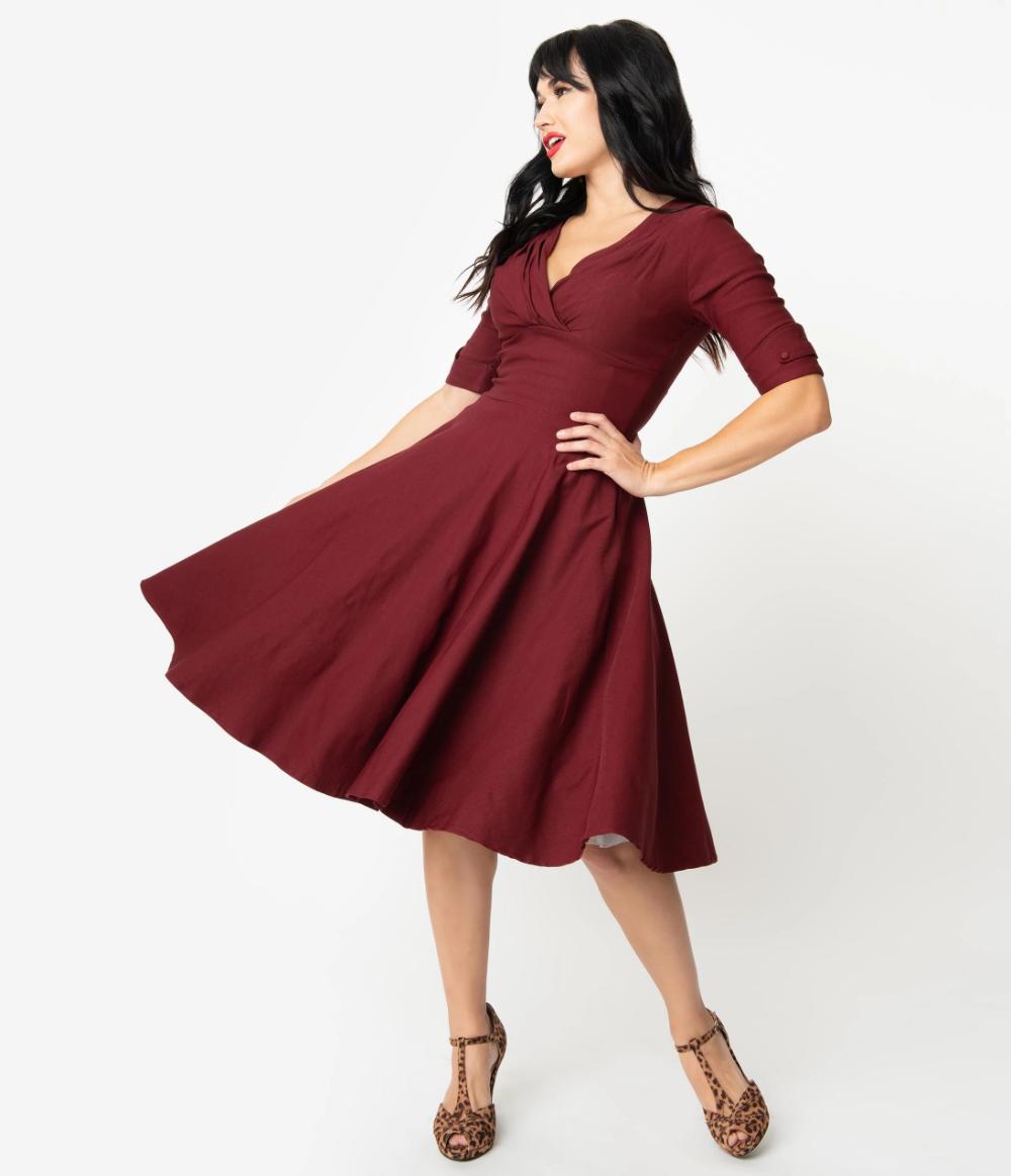 Unique Vintage 1950s Burgundy Red Delores Swing Dress With Sleeves Vintage Green Dress Swing Dress With Sleeves Swing Dress