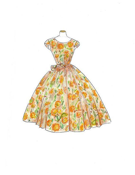 Vintage 1950 Watercolor Dress Fashion Illustration, Sunflower Dress ...