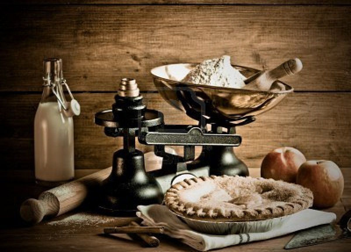 Stock Photo Old fashioned apple pie, Old fashioned