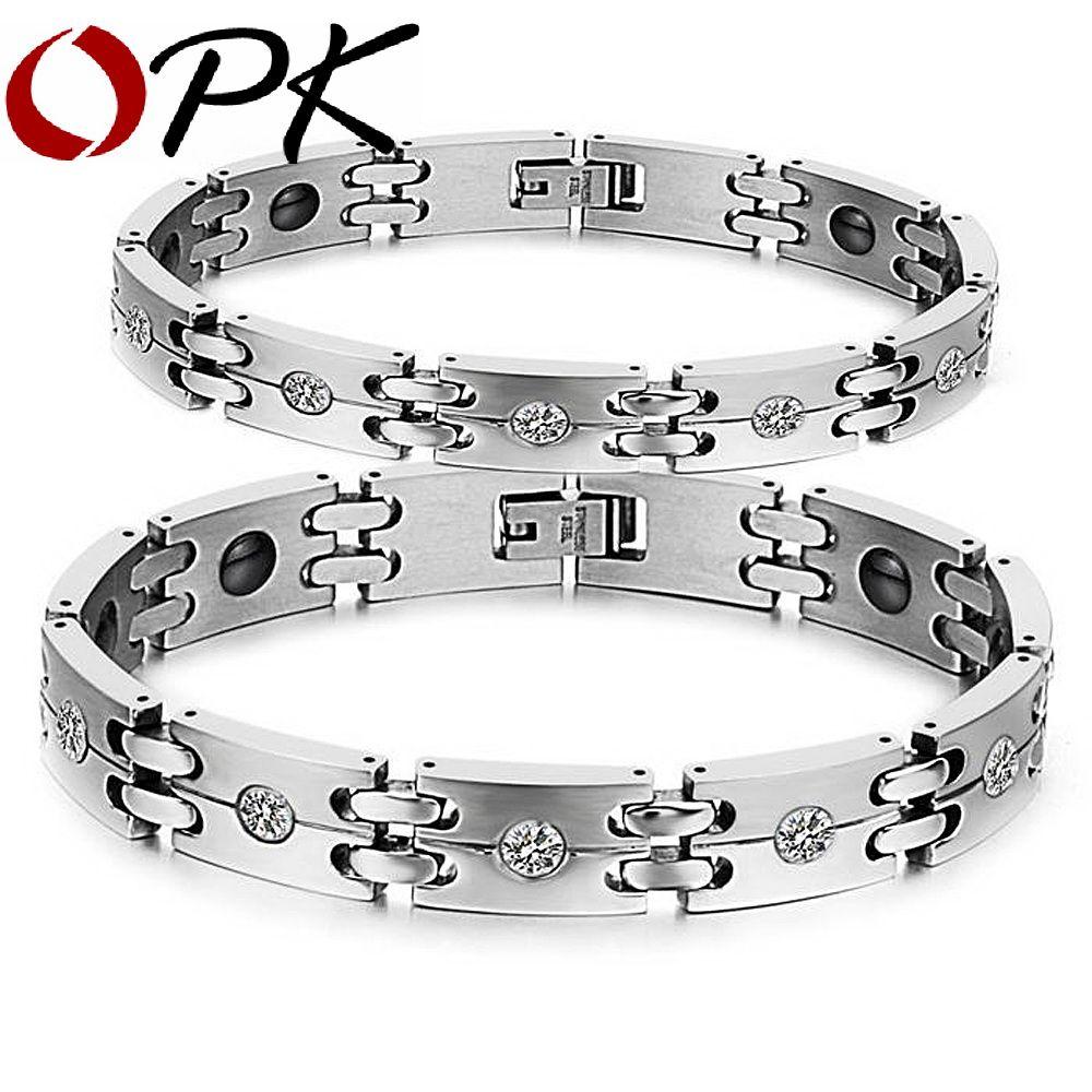 New loversu bracelet stainless steel cubic zirconia healthy