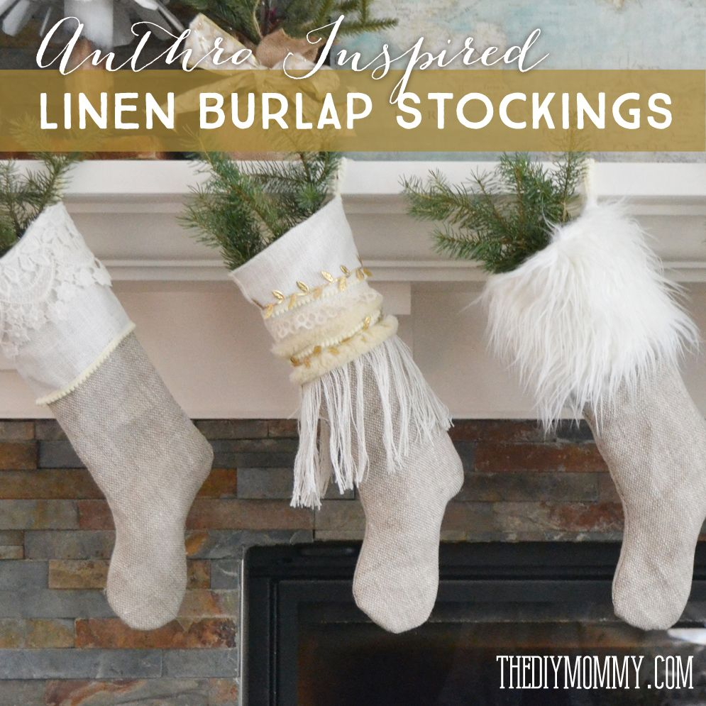 How to Sew Linen Burlap Christmas Stockings