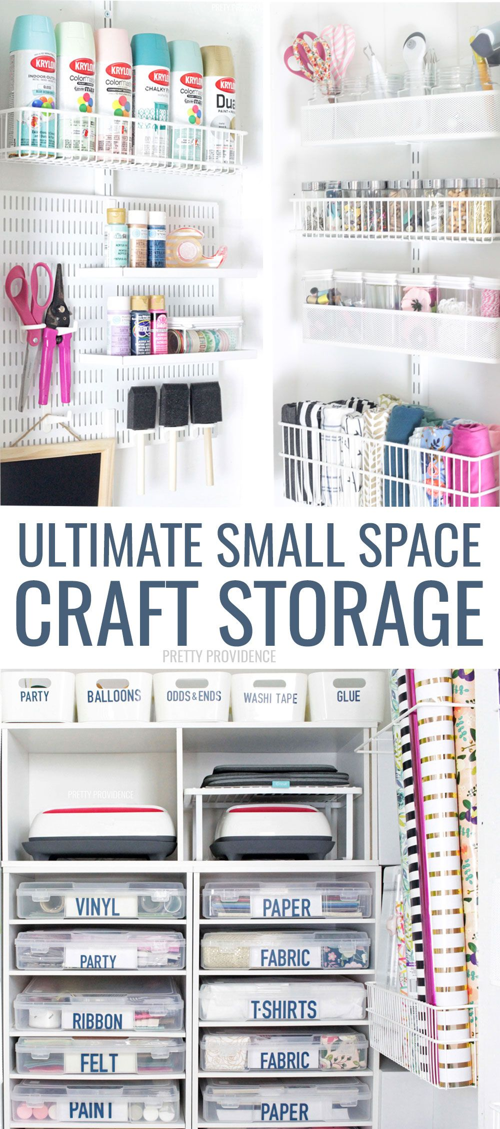 This under stairs storage closet has been transformed into craft storage heaven This is the craft closet of my dreams with tons of organization Ribbon storage ideas Cricu...