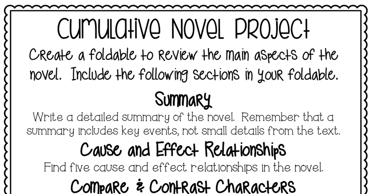 The Westing Game Cumulative Novel Project.pdf Middle