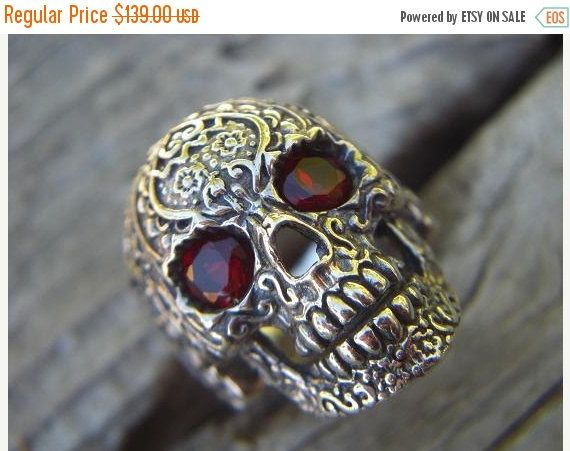 ON SALE Sale....Sugar skull ring in sterling silver with blood red cz's for eyes