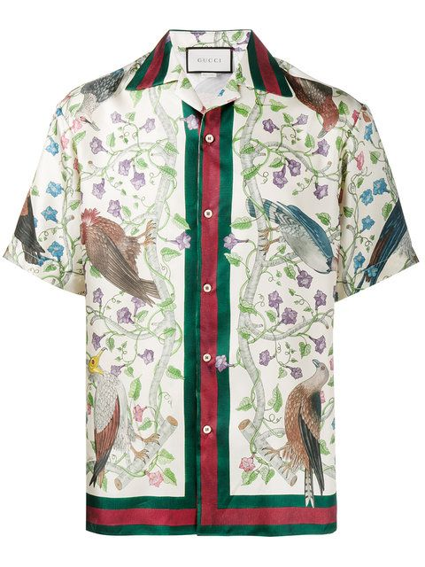 Shop Gucci Birds of Prey print bowling shirt.  9621a28d59b4