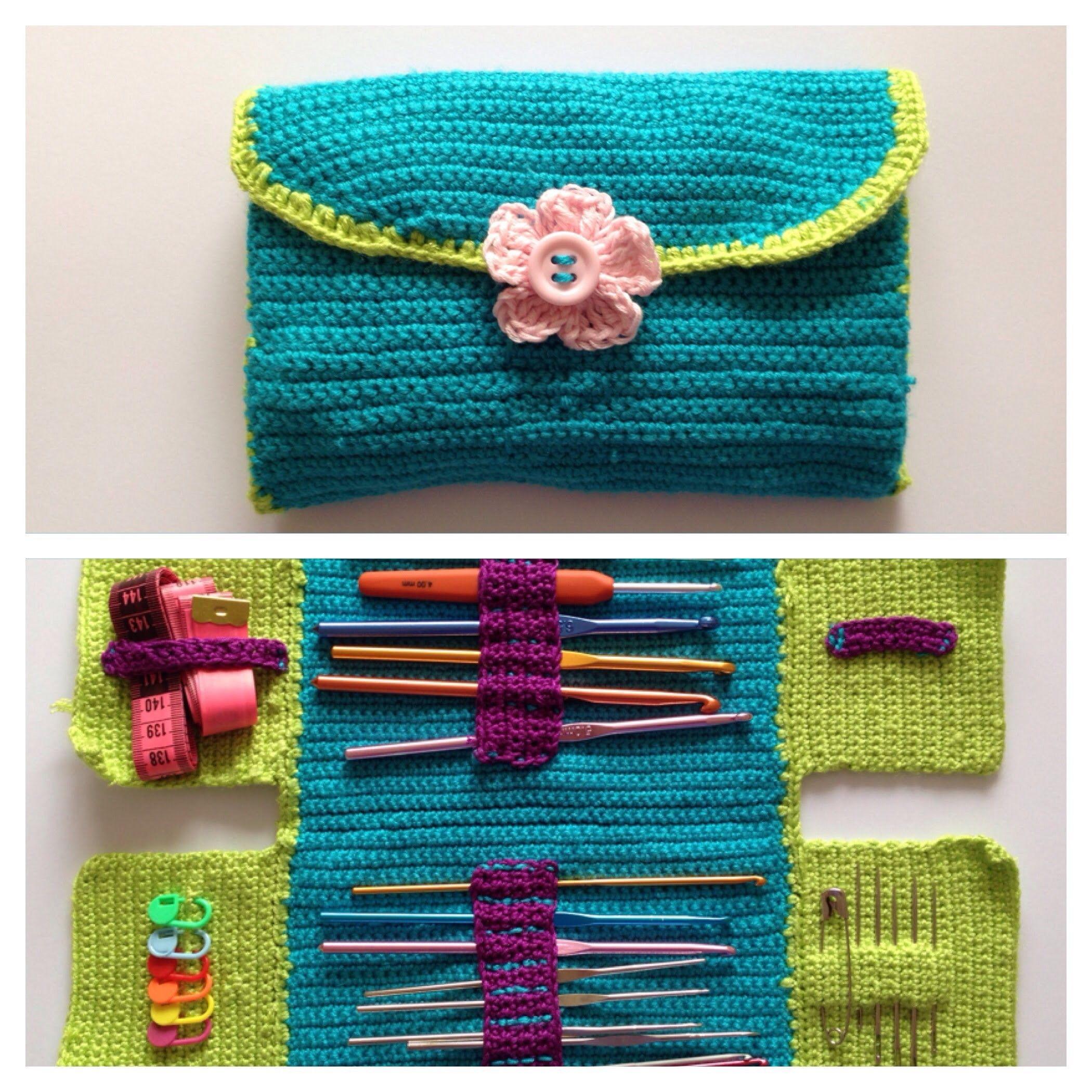 How to crochet hook case | Tasche häkeln, Häkeln und Zubehör