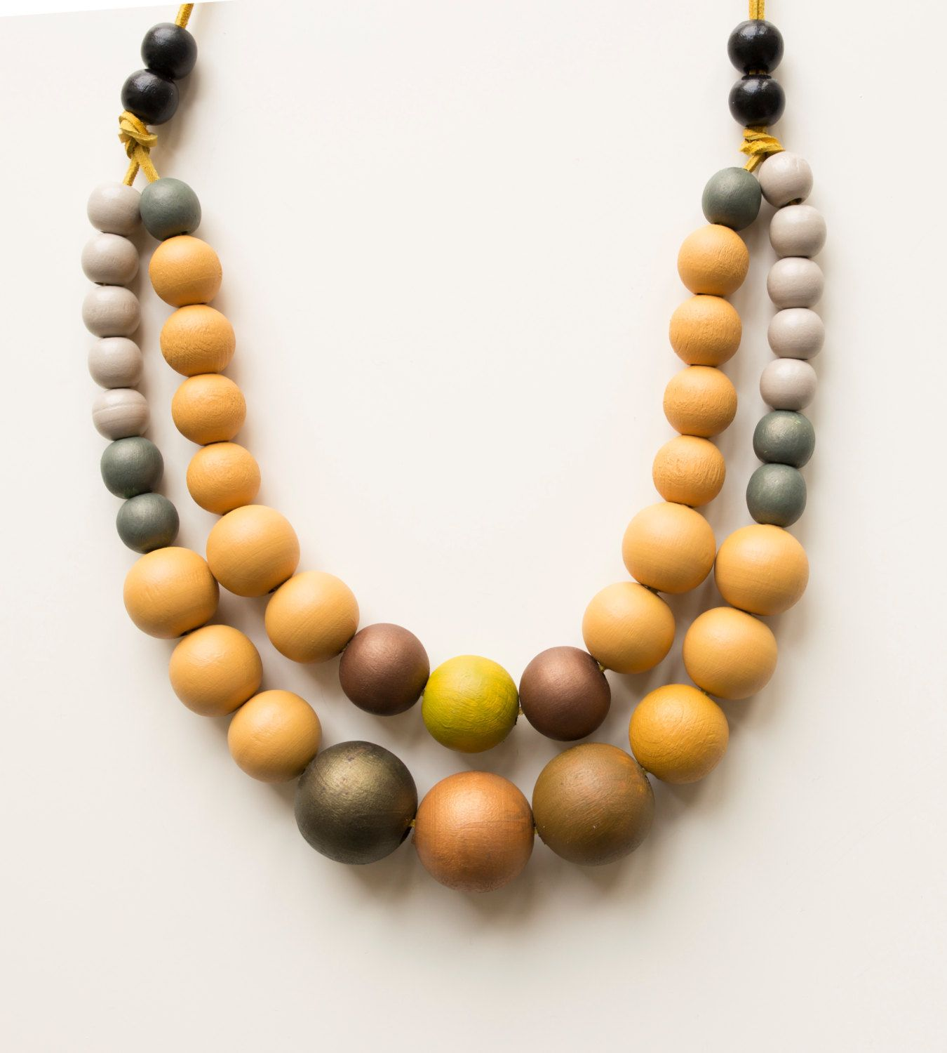 Miranda Wood Statement Necklace Beaded Brown Necklace Gifts For Her