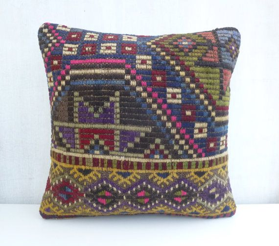 Had embroidered Kilim pillow Cover Vintage by PillowTalkOnEtsy, $46.00
