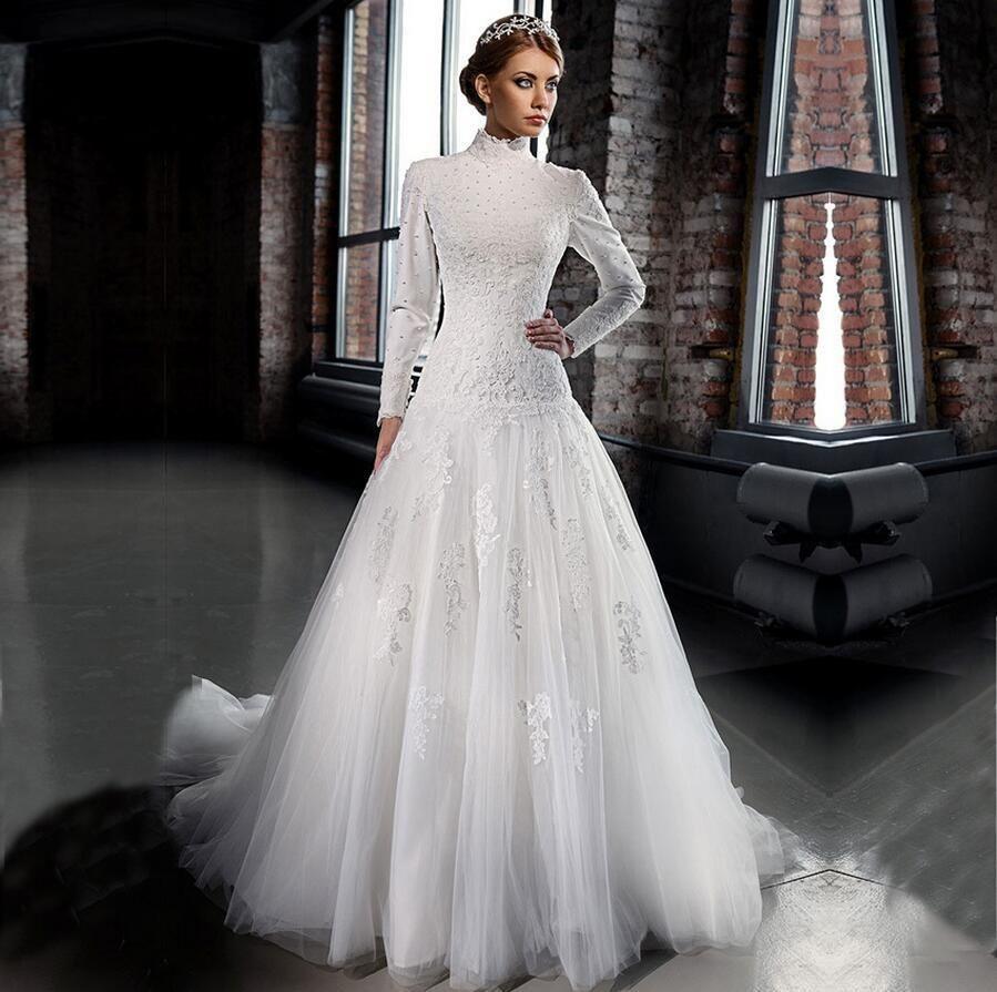 A Line White Tulle Wedding Dress 2017 Arabic Bridal: A New Romantic Bridal Dresses Arabic High-Neck Long Sleeve