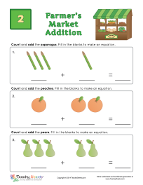 Kindergarten And 1st Grade Math Worksheet For Addition Learn The Names Of Some Vegetables And Fruits W 1st Grade Math Worksheets 1st Grade Math Math Worksheet