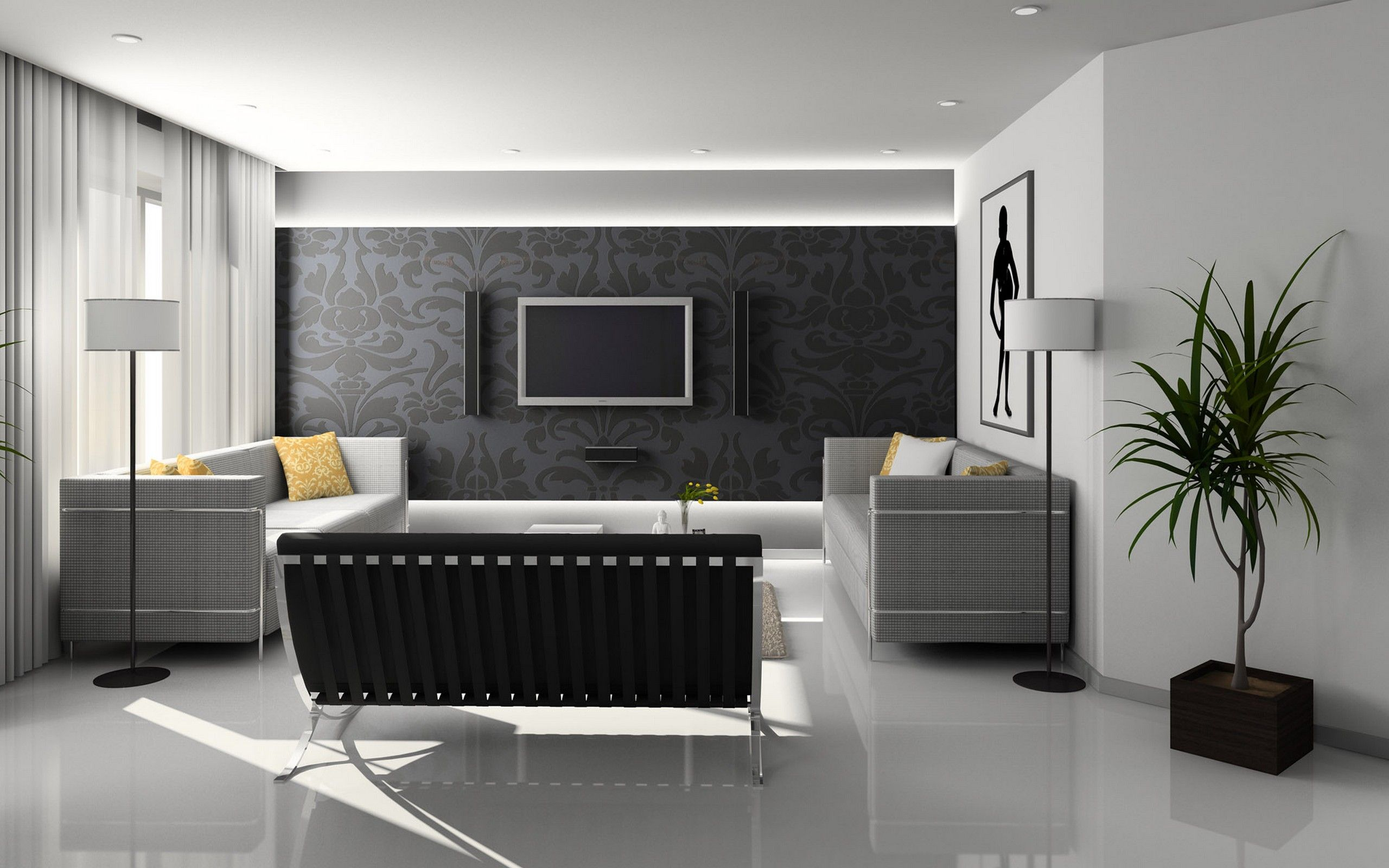 Living Room Interior Black And White Contemporary Ideas With White Wall Color And Curly Grey Wallpaper Also Mounted Tv And Component Eves Alsoplaid Pattern