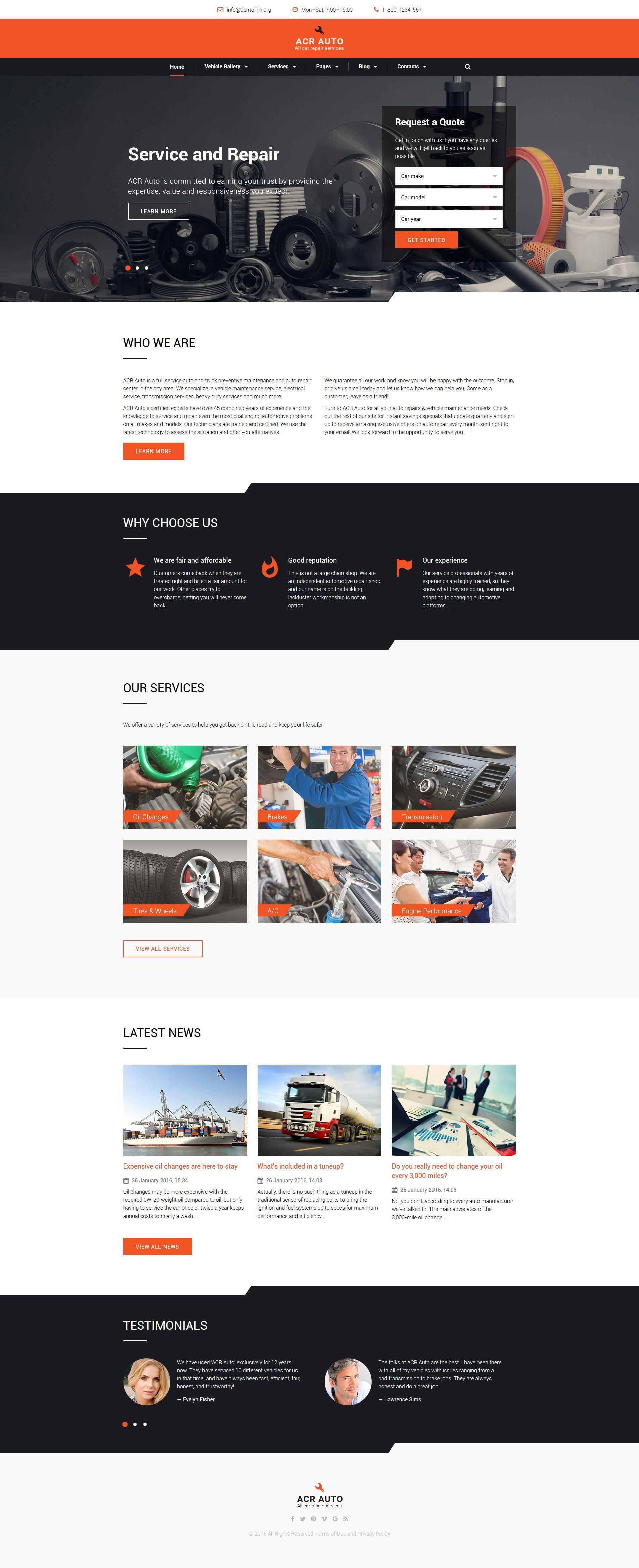 Car Repair Responsive Website Template Http Www Templatemonster