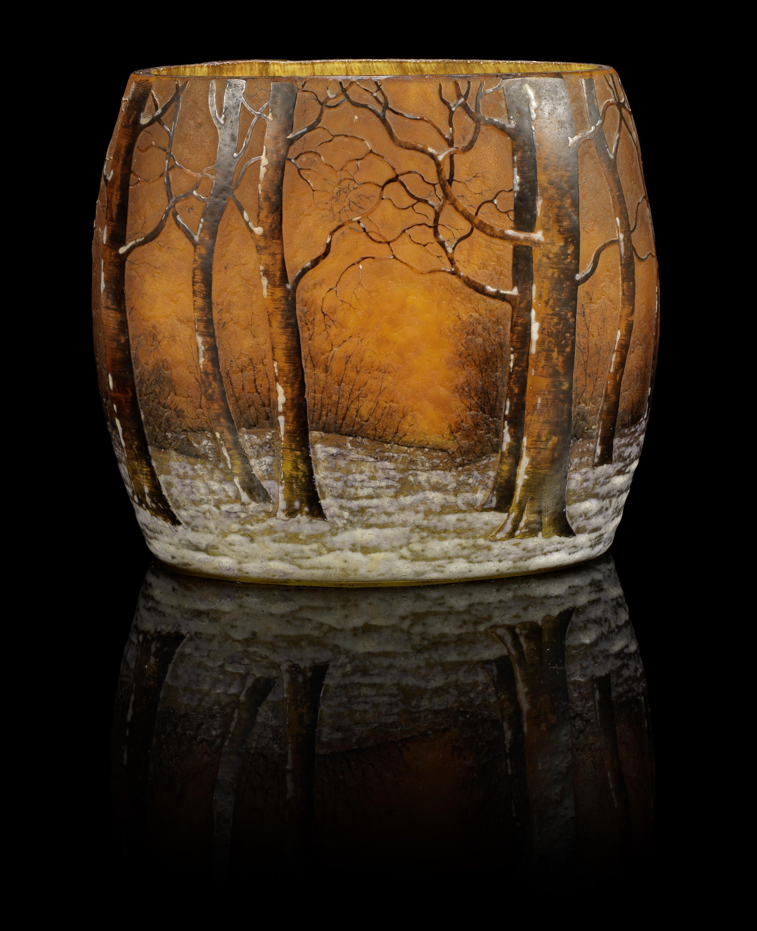 Daum Frères (1878-) 'Arbres en hiver' a 'Pillow' Vase, circa 1910 internally mottled glass, acid-etched and hand-enamelled 12cm high