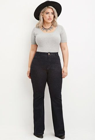 77e5772afdb How to wear plus size flared jeans in spring 7 outfit ideas  plussize  jeans
