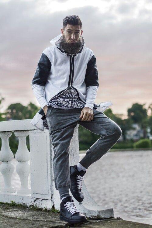 Hoody design/Outfit styled by Me ) All Black Jordan 1 w/ white laces. beard #beardedmen # ...