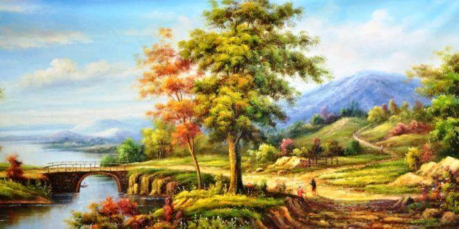 Galeri Lukisan Pemandangan Alam Nan Cantik Pemandangan Lukisan Cat Air Lanskap