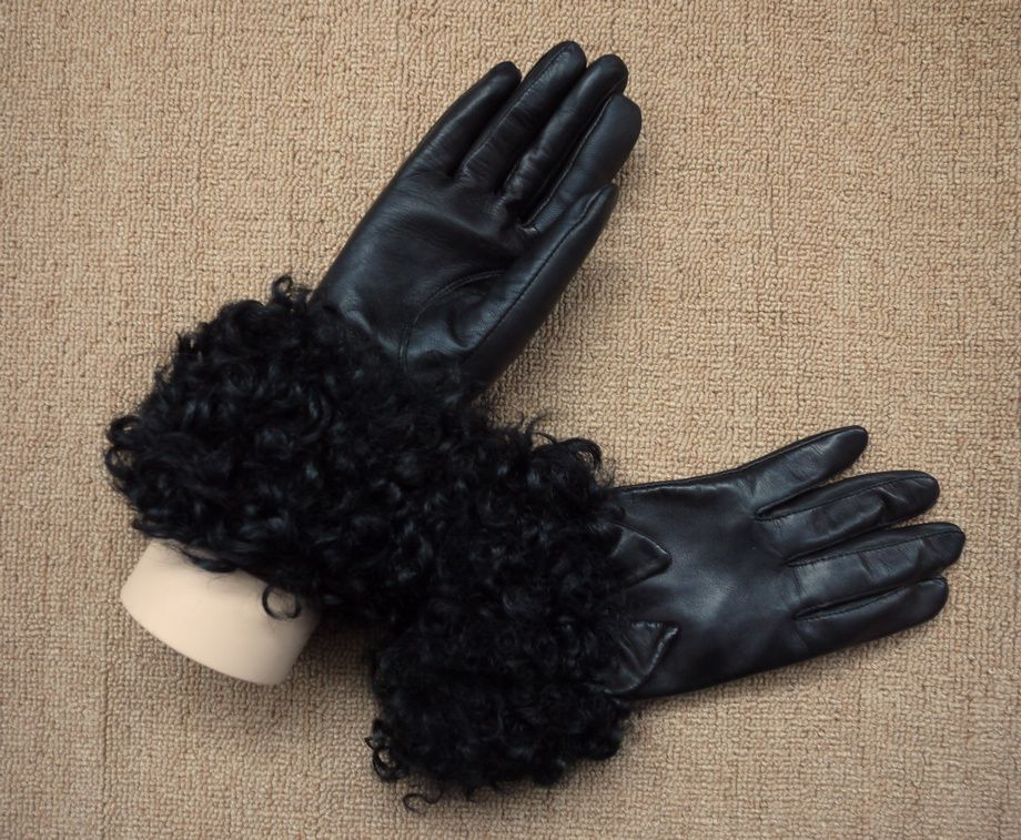 Small suede genuine leather gloves touch screen mobile phone berber fleece thermal flat screen bow female