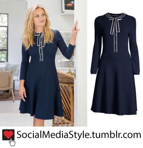 e85a115e6a7 Reese Witherspoon s Draper James Navy Sailor Bow Sweater Dress in ...