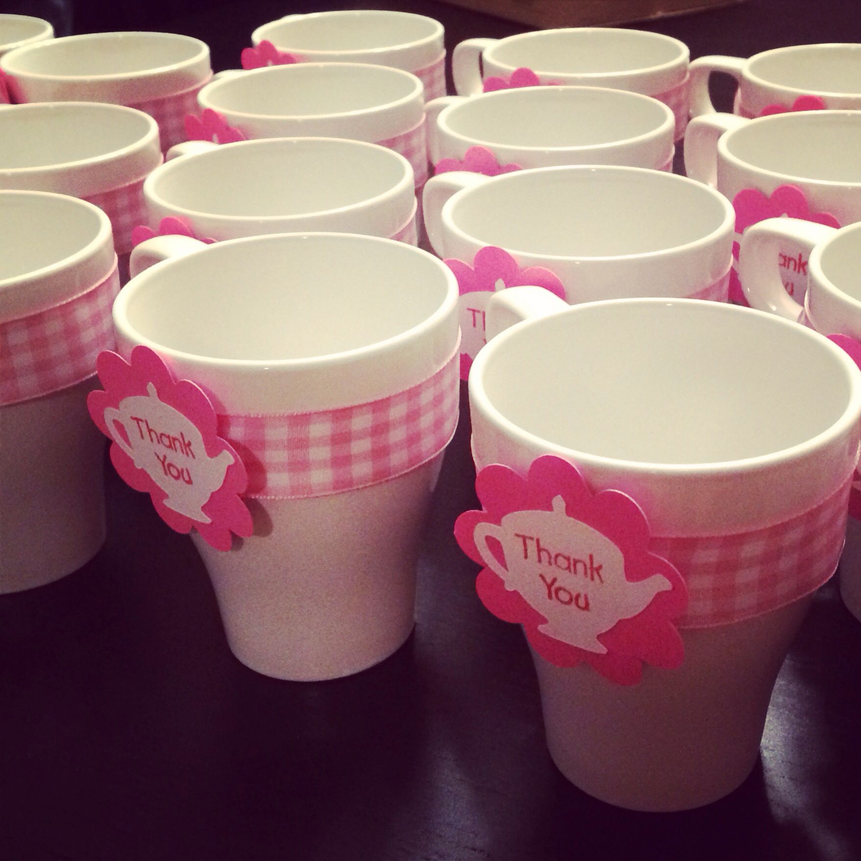 IKEA tea cups+ribbon and some Cricut help=cute tea party themes baby ...