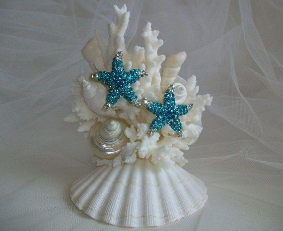 Beach Theme Wedding Cake Topper Jeweled Starfish Seashell Decor