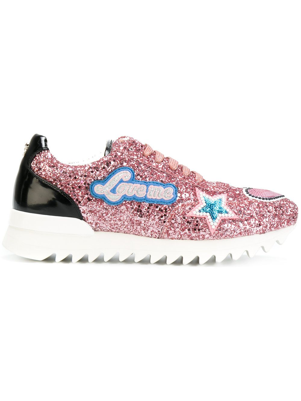 PHILIPP PLEIN | glitter and patch detail sneakers #Shoes #PHILIPP PLEIN