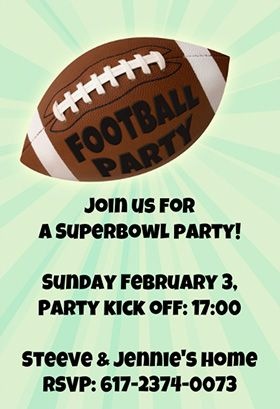 graphic regarding Super Bowl Party Invitations Free Printable identified as Soccer Superbowl Occasion - Printable Social gathering Invitation