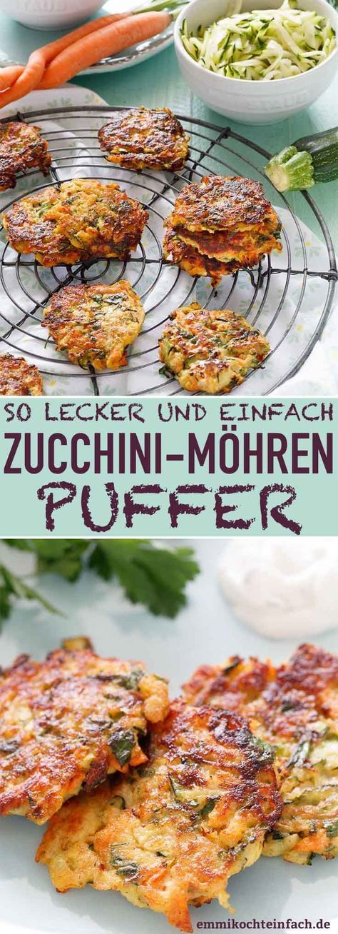Zucchini Möhren Puffer - die leckeren Gemüsepuffer #zucchinipastarecipes