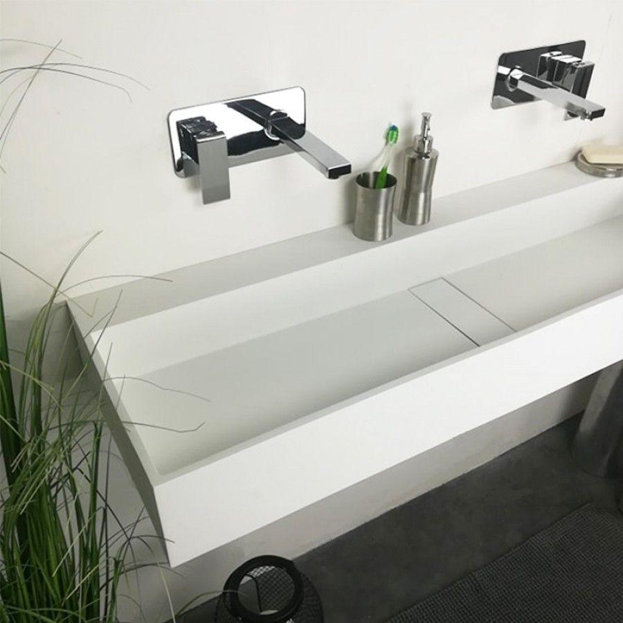 Etagere Pour Vasque A Poser vasque 120 cm suspendue ou à poser, en solid surface