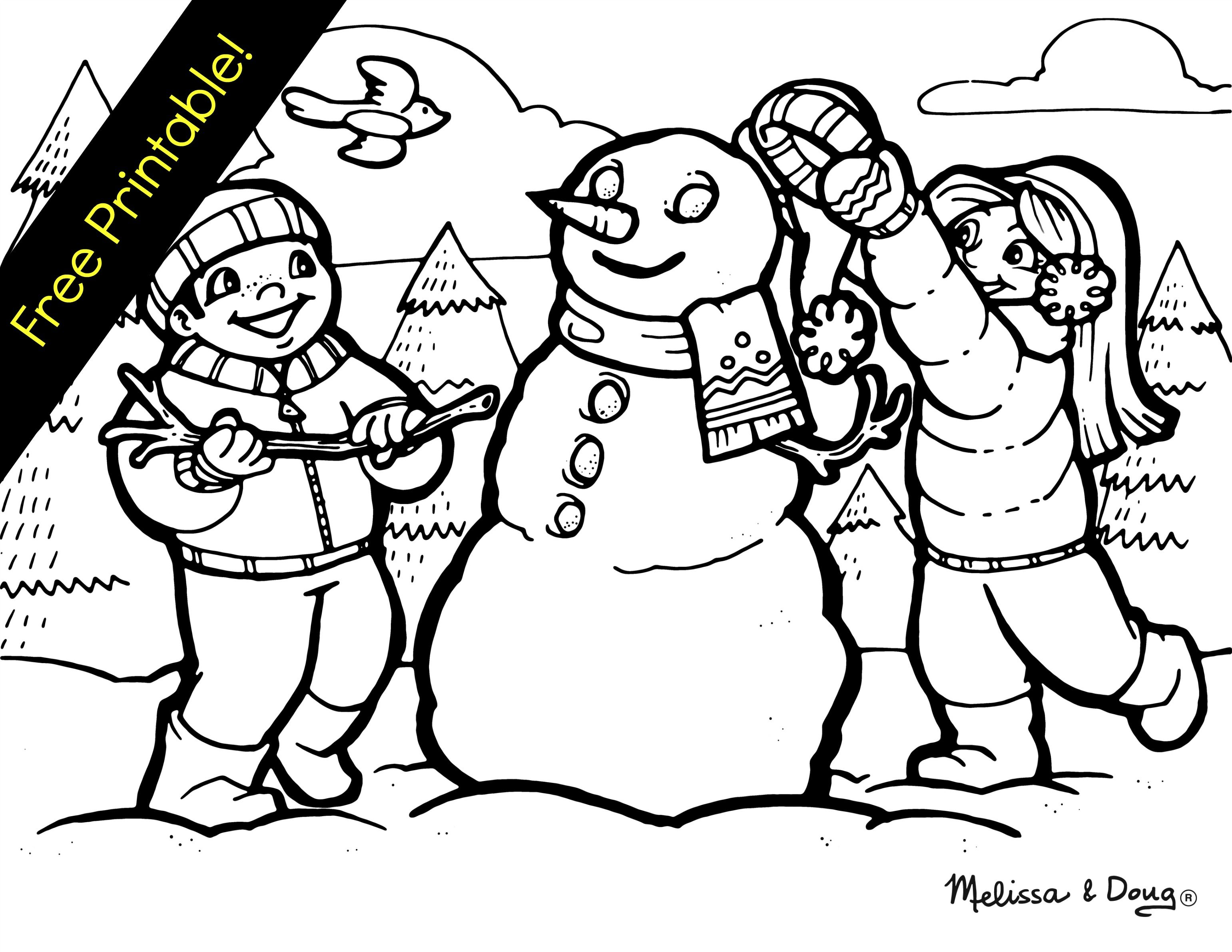 Winter Themed Coloring Page Snowman