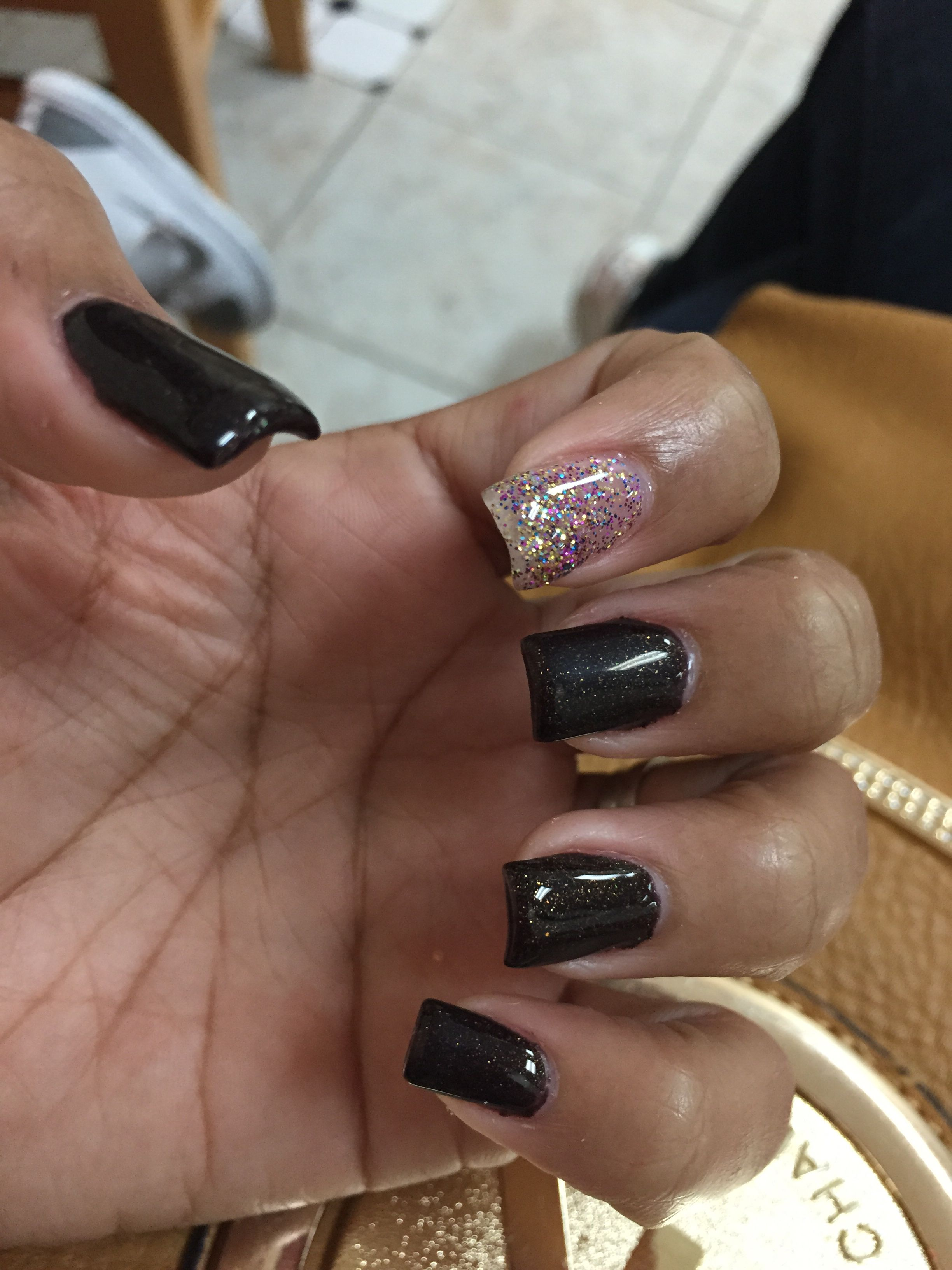 Fall nails...dark brown with sparkles...gold glitter accent nail ...