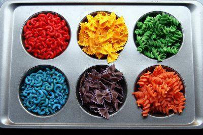 How fun - rubbing alcohol + food coloring + dry pasta = a fun ...