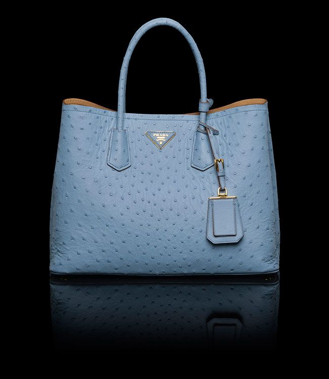 Prada Double Bag Ostrich Pale Blue