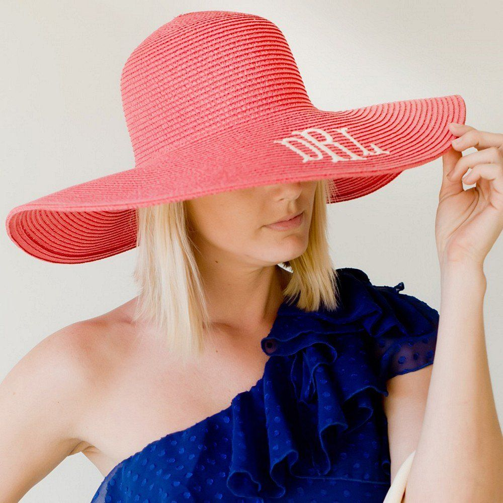 7941670edbe19b Floppy sun hat personalized with single initial or 3 letter monogram for  bridesmaids to wear during your outdoor wedding ceremony and reception and  every ...