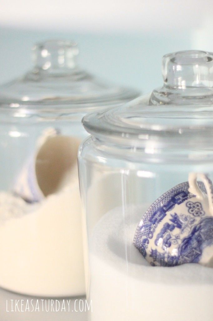 I this idea to use pretty tea cups for scooping sugars and ... Ideas For Clear Kitchen Canisters on clear canisters in food, clear stools for kitchen, clear canisters with lids, canister sets for kitchen, spray paint a tray for kitchen, clear plastic kitchen canisters, acrylic canister sets kitchen,