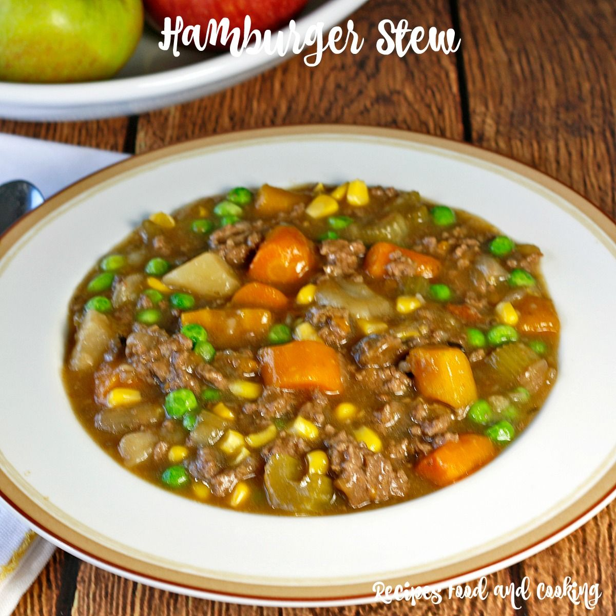 This Hearty And Delicious Beef Stew Is Made With Ground Beef Carrots Potatoes Celery Onions Corn And Peas Hamburger Stew Stew Recipes Tasty Beef Stew