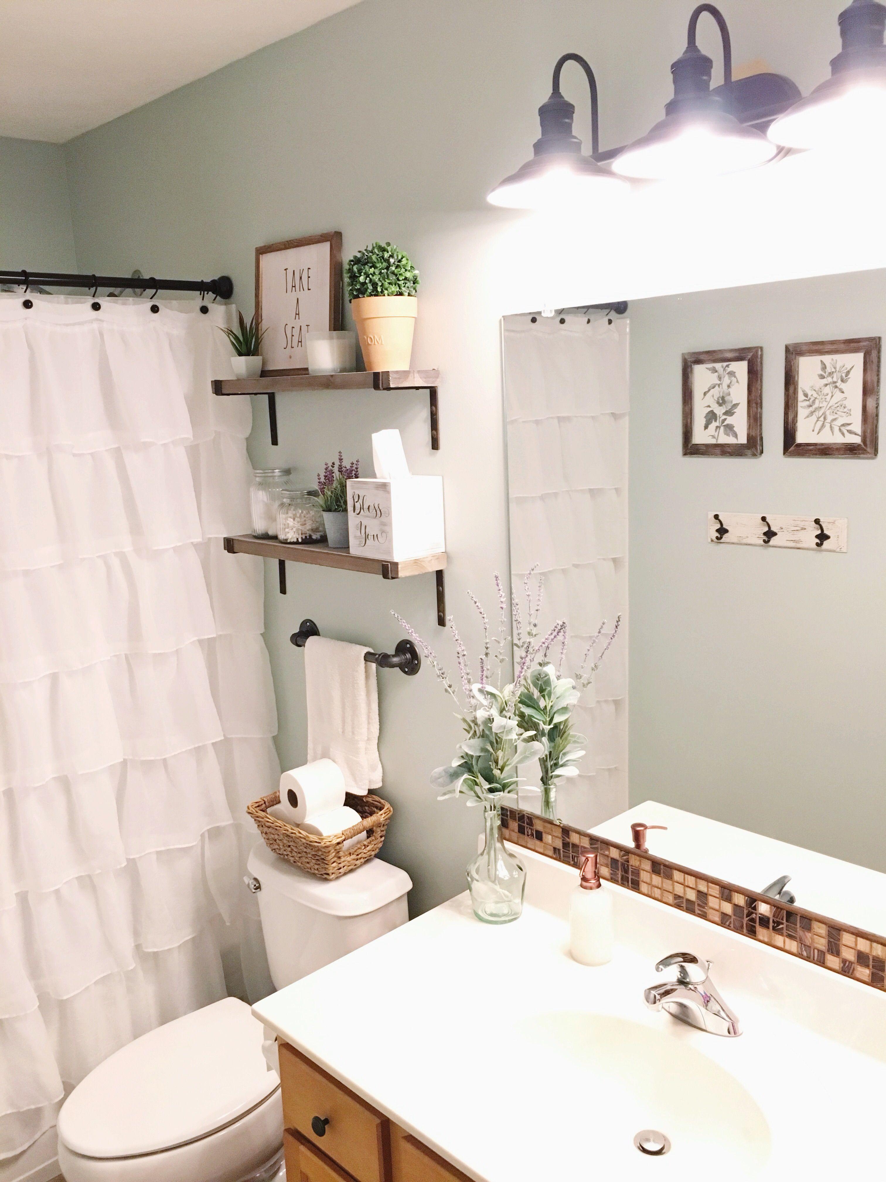 Farmhouse Style Guest Bathroom Sea Salt Blue Gray By Sherwin