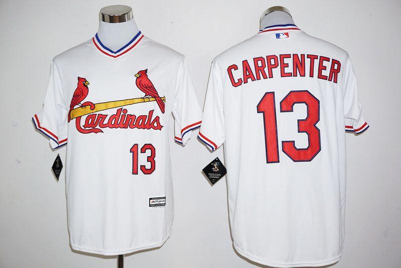 Men's St. Louis Cardinals #13 Matt Carpenter White Pullover Cool Base Baseball Jersey