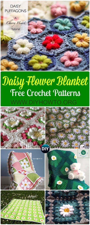 Crochet Daisy Flower Blanket Free Patterns & Instructions: Crochet ...