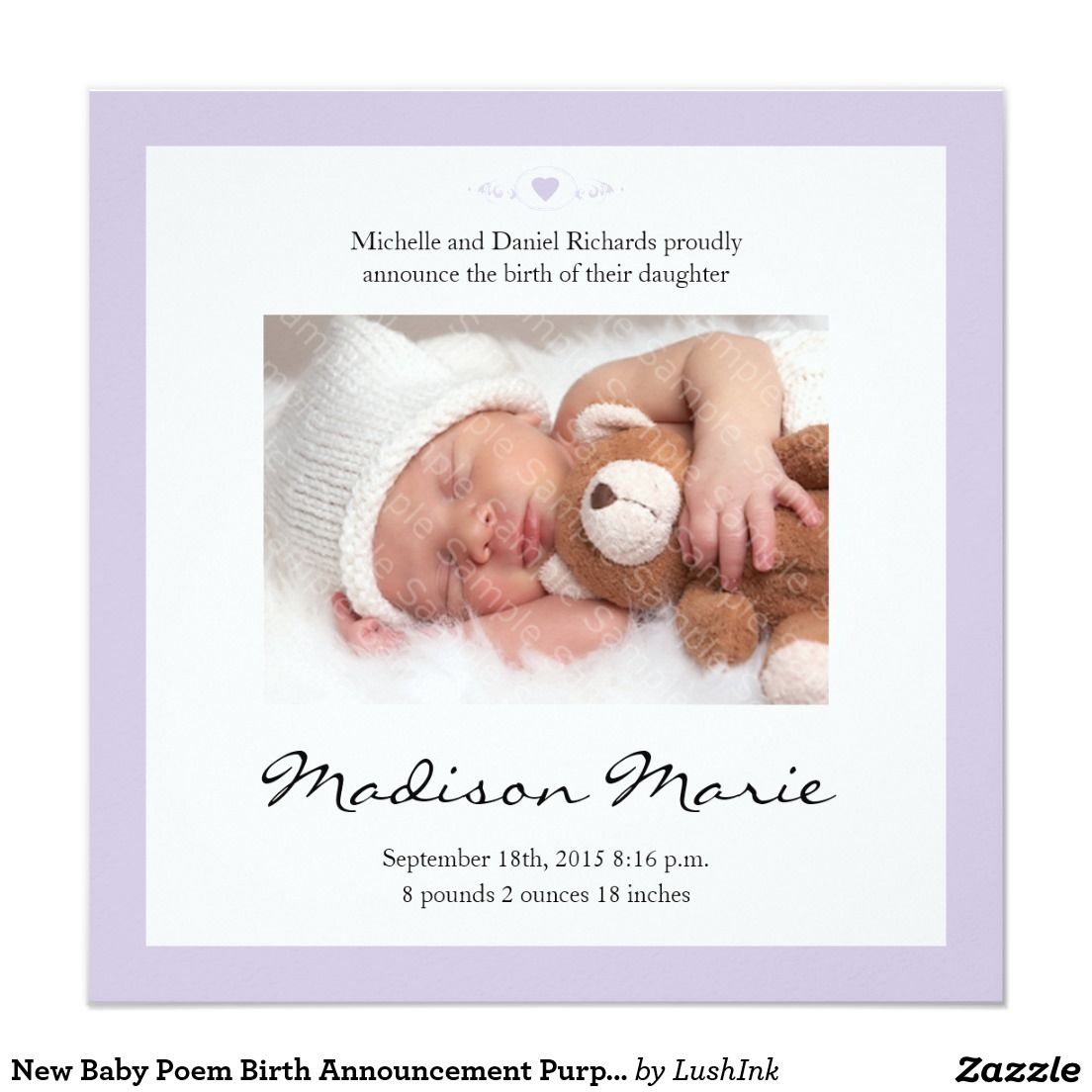 Birth Announcement Quotes New Baby Poem Birth Announcement Purple  Baby Poems