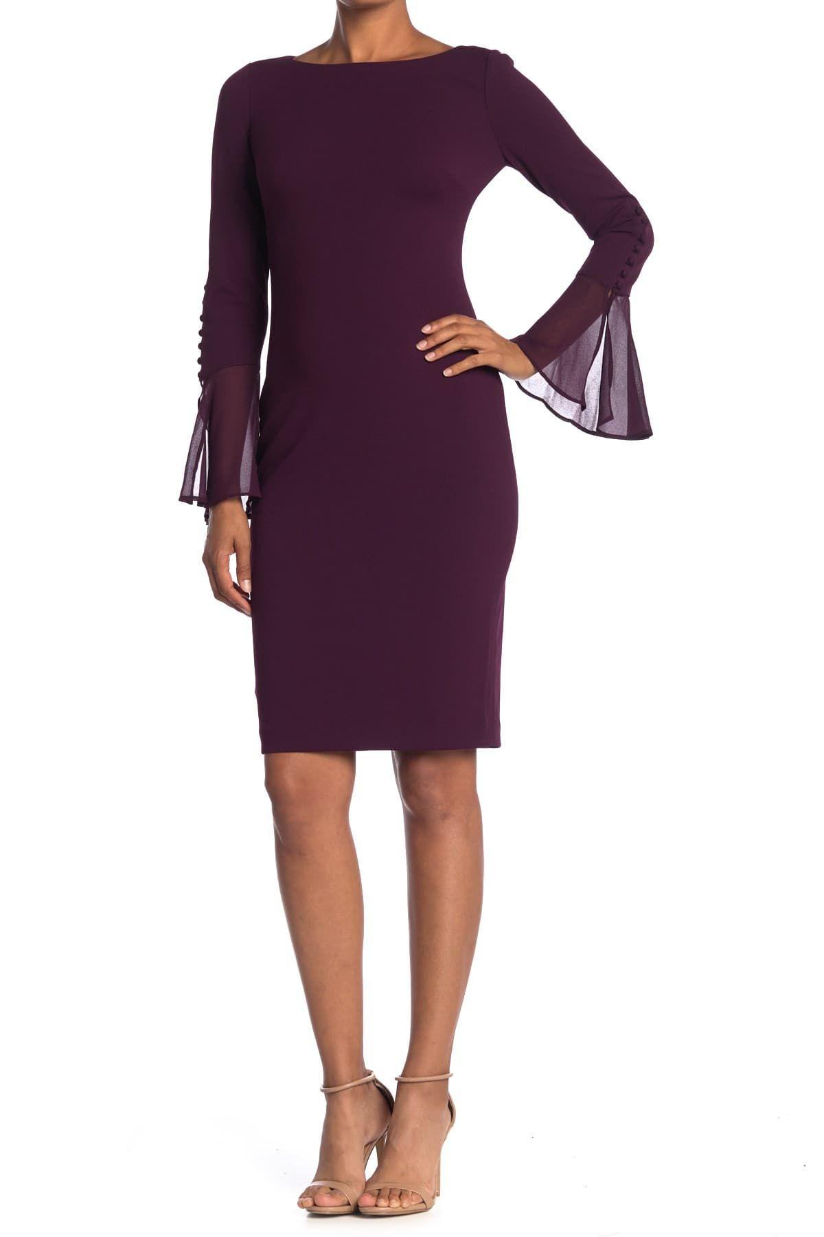 21++ Calvin klein chiffon bell sleeve dress trends