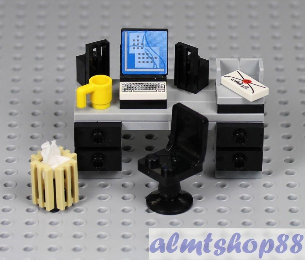 LEGO Office Worker Minifigure w// Desk Water Cooler Coffe Maker Waste Basket