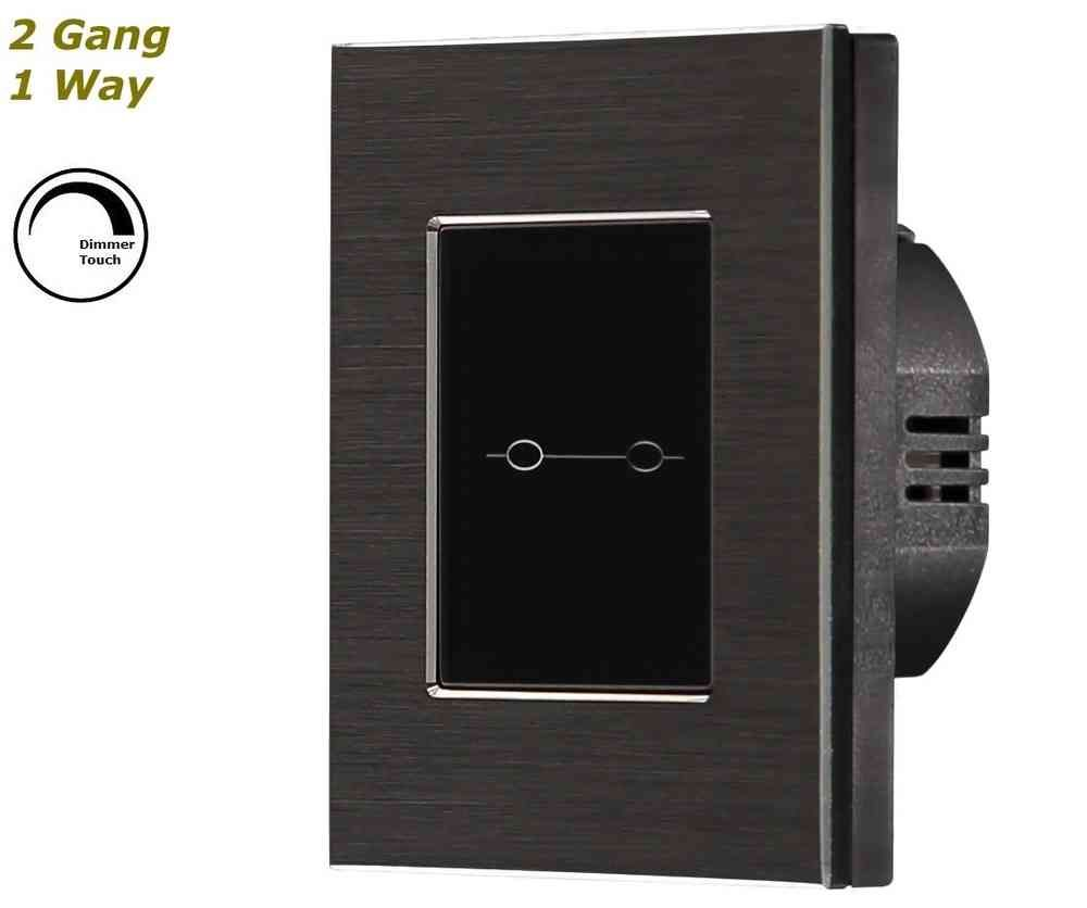 GLSTouch Designer Black Brushed Aluminium Dimmer Touch Light Switch ...
