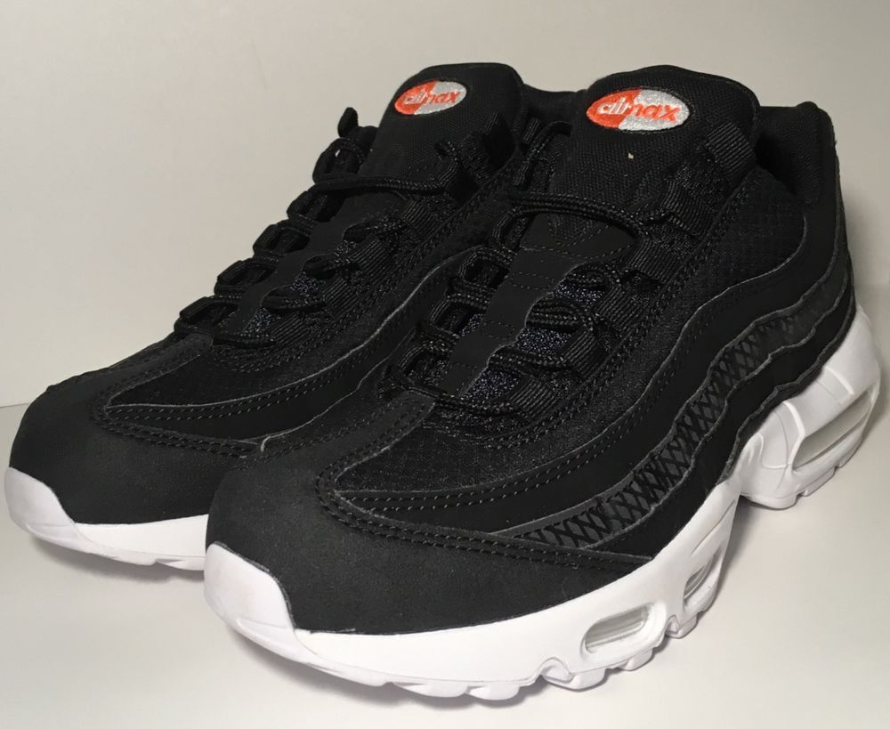 e0efd10a25f4 SZ.8 NIKE AIR MAX 95 PREMIUM SE 924478-001 BLACK BLACK.WHITE.TEAM.ORNAGE