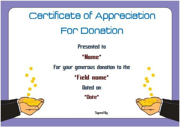 Certificate of appreciation for donation Thank you certificates - certificate of appreciation
