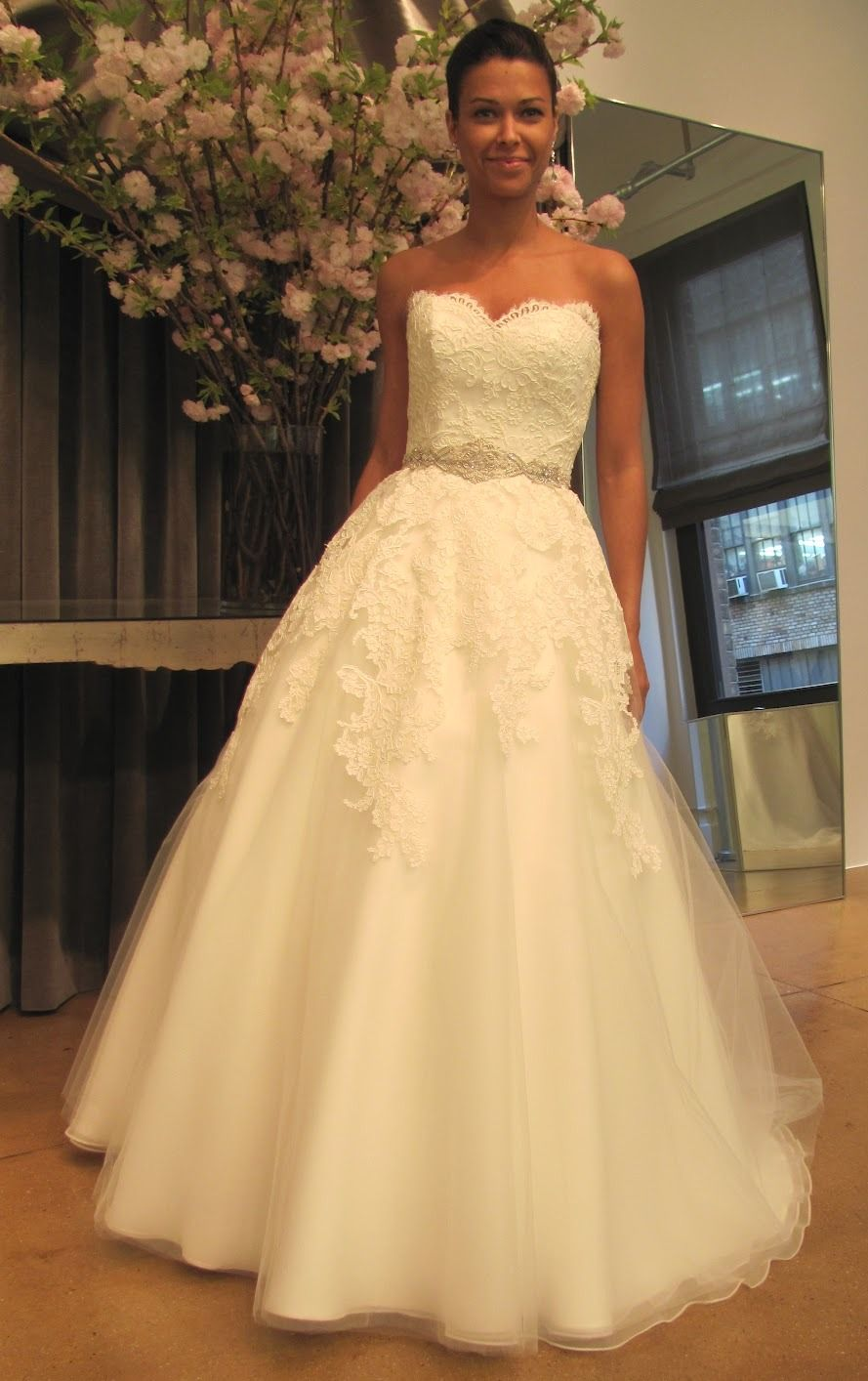 Full aline gown with alencon lace and a sweetheart neckline love