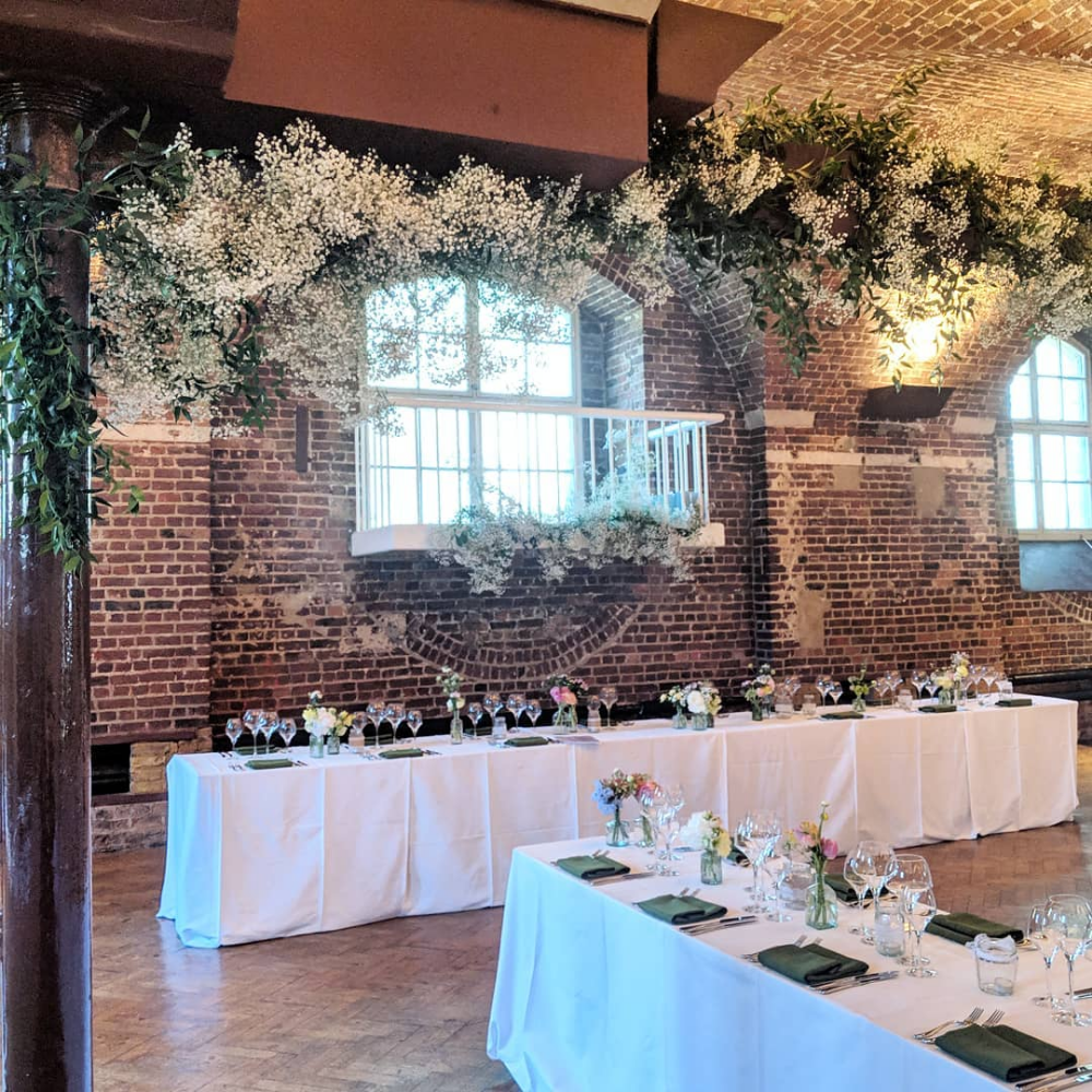 Saturday set up with clouds of gypsophila at Clerkenwell's